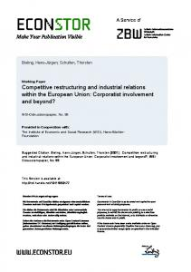 Competitive Restructuring and Industrial Relations within ... - EconStor