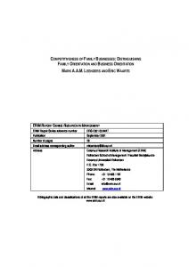 competitiveness of family businesses: distinguishing family ... - SSRN