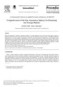 Competitiveness of the Iran Automotive Industry ... - ScienceDirect.com
