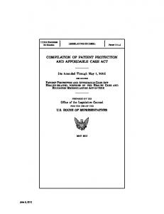 compilation of patient protection and affordable care act