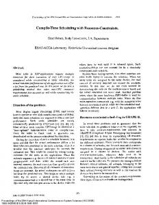 Compile-Time Scheduling with Resource ... - Semantic Scholar
