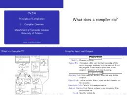 Compiler Overview - Department of Computer Science - University ...