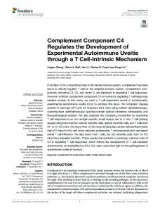 Complement Component C4 Regulates the ... - Semantic Scholar