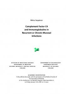 Complement Factor C4 and Immunoglobulins in ...