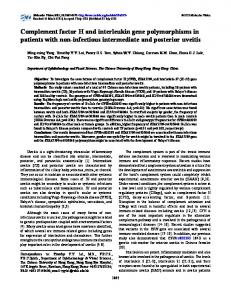 Complement factor H and interleukin gene ... - Molecular Vision