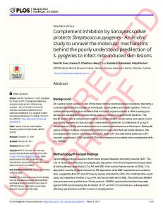 Complement inhibition by Sarcoptes scabiei protects ... - PLOS
