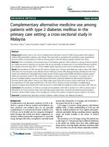 Complementary alternative medicine use among ... - BioMedSearch