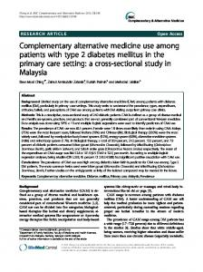 Complementary alternative medicine use among