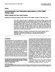 Complementary and Alternative Approaches to Pain ... - BioMedSearch