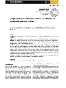 Complementary and alternative medicine for ... - Wiley Online Library