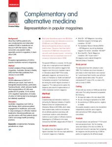 Complementary and alternative medicine - Informit