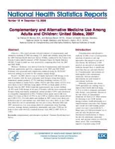 Complementary And Alternative Medicine Use Among Adults And