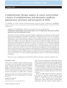 Complementary therapy support in cancer ... - Wiley Online Library