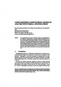 complementing computational protocol analysis with ... - QUT ePrints