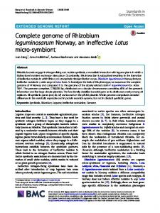 Complete genome of Rhizobium leguminosarum Norway, an