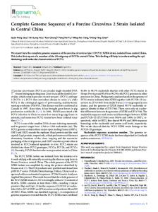 Complete Genome Sequence of a Porcine Circovirus 2 Strain Isolated ...