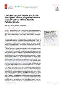 Complete genome sequence of Bacillus thuringiensis serovar ...