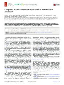 Complete Genome Sequence of Mycobacterium ulcerans subsp ...