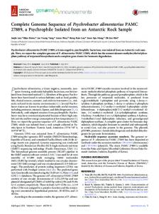 Complete Genome Sequence of Psychrobacter ... - Semantic Scholar