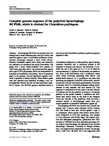 Complete genome sequence of the podoviral ...