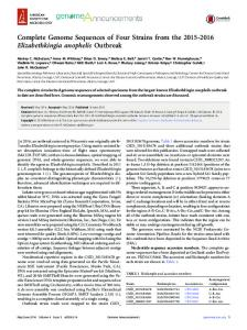 Complete Genome Sequences of Four Strains from the ... - CDC stacks