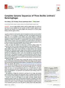 Complete genome sequences of three Bacillus anthracis ...