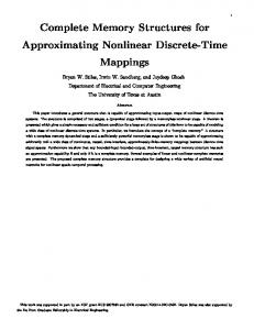 Complete Memory Structures for Approximating Nonlinear ... - CiteSeerX