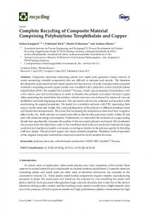 Complete Recycling of Composite Material Comprising ... - MDPI