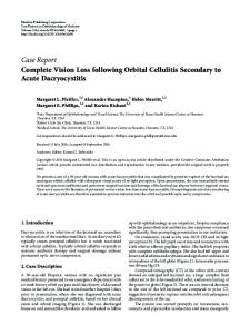 Complete Vision Loss following Orbital Cellulitis Secondary to Acute ...
