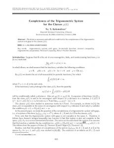 Completeness of the trigonometric system for the classes - Springer Link