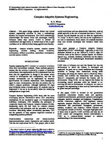 Complex Adaptive Systems Engineering