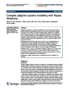 Complex adaptive systems modeling with Repast Simphony