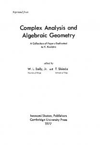 Complex Analysis and Algebraic Geometry - Semantic Scholar