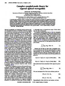 Complex coupled-mode theory for tapered optical ... - OSA Publishing