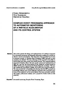 Complex Event Processing approach to automated monitoring