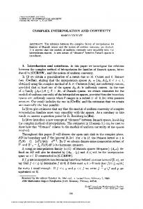 complex interpolation and convexity - American Mathematical Society