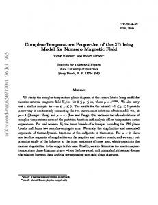 Complex-Temperature Properties of the 2D Ising Model for Nonzero