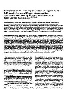Complexation and Toxicity of Copper in Higher Plants. I ...