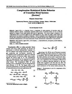 Complexation Modulated Redox Behavior of ...