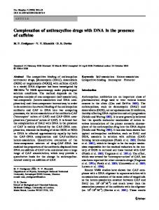 Complexation of anthracycline drugs with DNA in the ... - Springer Link