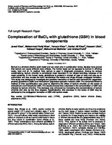Complexation of BaCl2 with glutathione (GSH) in ... - Academic Journals