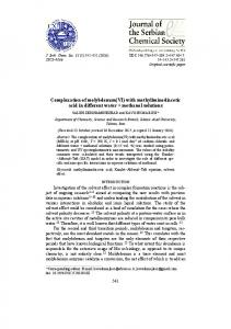 Complexation of molybdenum(VI) with methyliminodiacetic acid in