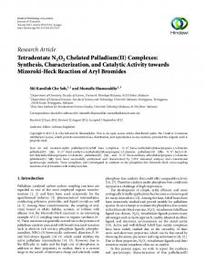 Complexes: Synthesis, Characterization, and