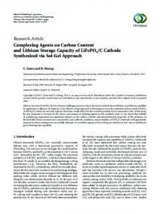 Complexing Agents on Carbon Content and Lithium Storage Capacity