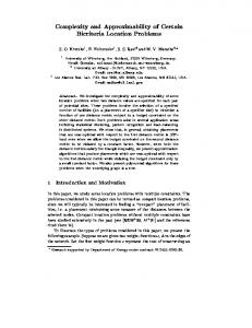 Complexity and Approximability of Certain Bicriteria ... - CiteSeerX