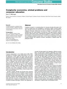 Complexity economics, wicked problems and ...