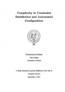 Complexity in Constraint Satisfaction and Automated Configuration
