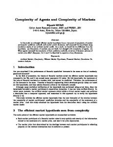 Complexity of Agents and Complexity of Markets - Semantic Scholar
