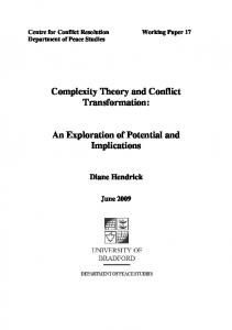 Complexity Theory and Conflict Transformation - CiteSeerX