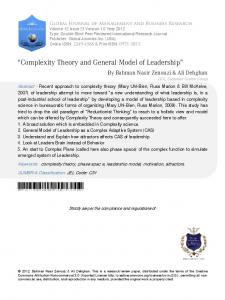Complexity Theory and General Model of Leadership - Global Journals